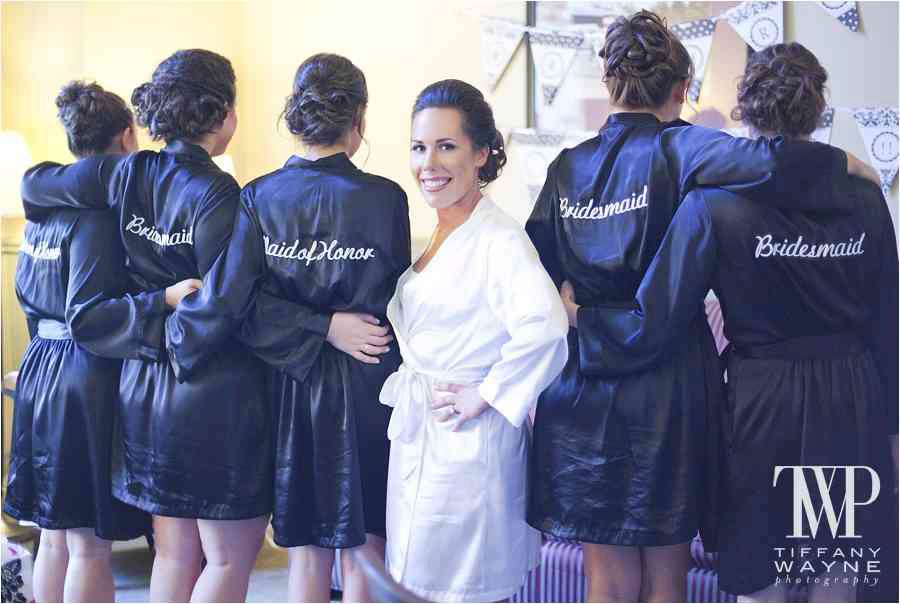 Fun, Flirty and Flouncy Bridesmaids Navy Silk Robes. Great gift idea for the girls!